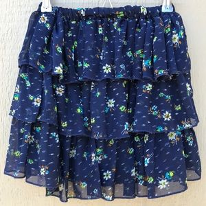 [Mossimo] Navy Blue Floral Ruffled Mini Skirt XS